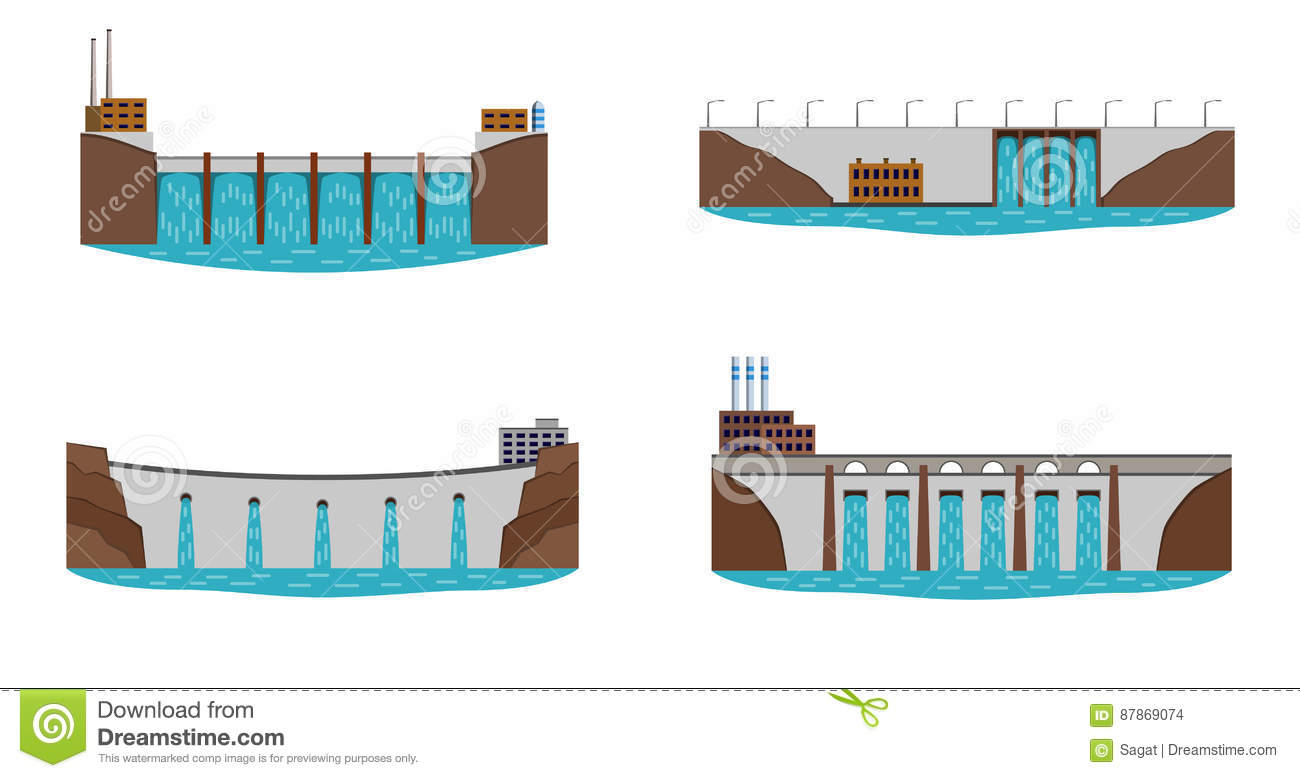 Set Of Hydro Power Plant Stock Vector Illustration Architecture Electrical Diagram