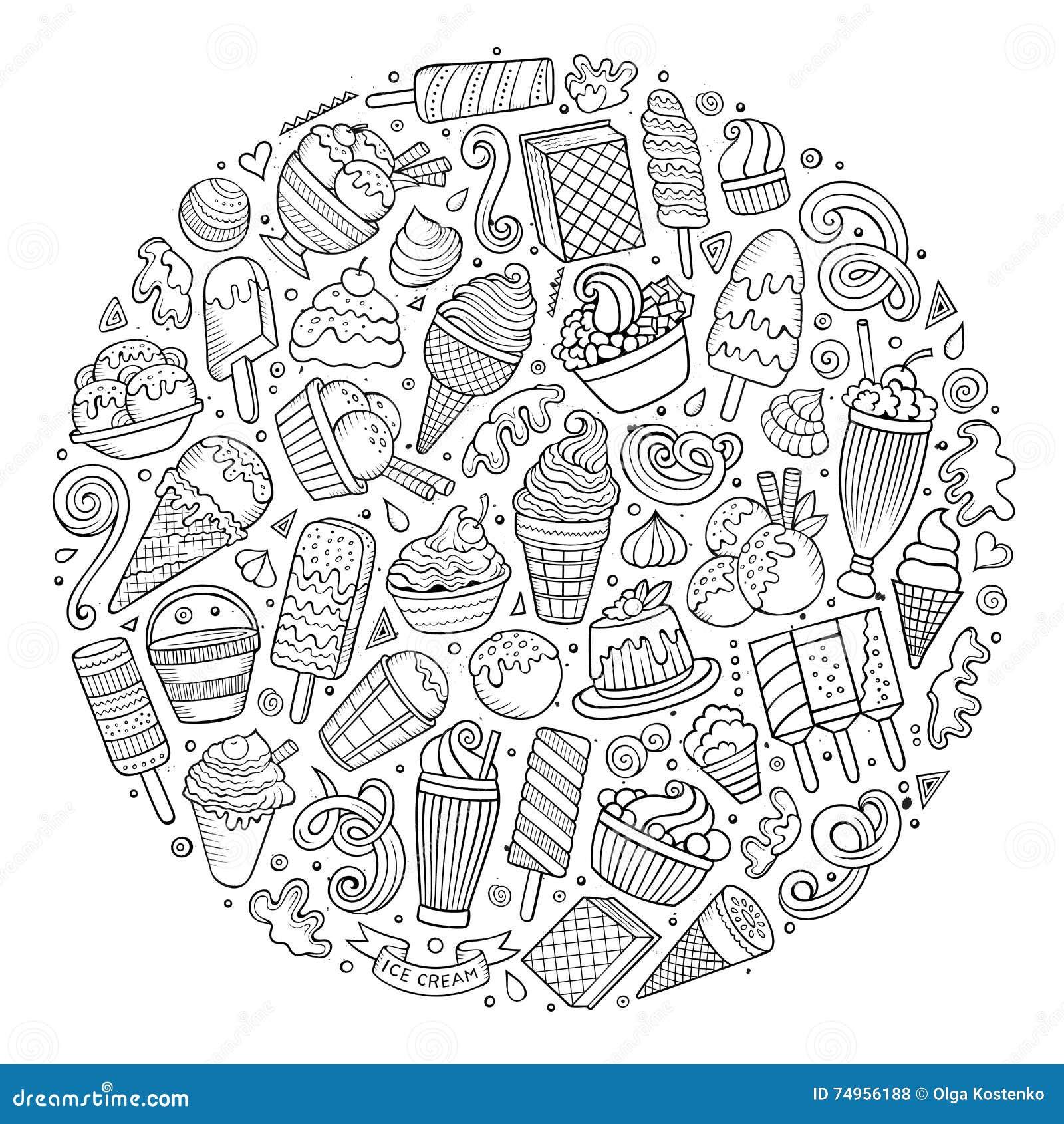 Line Art Doodles : Set of ice cream cartoon doodles objects stock vector