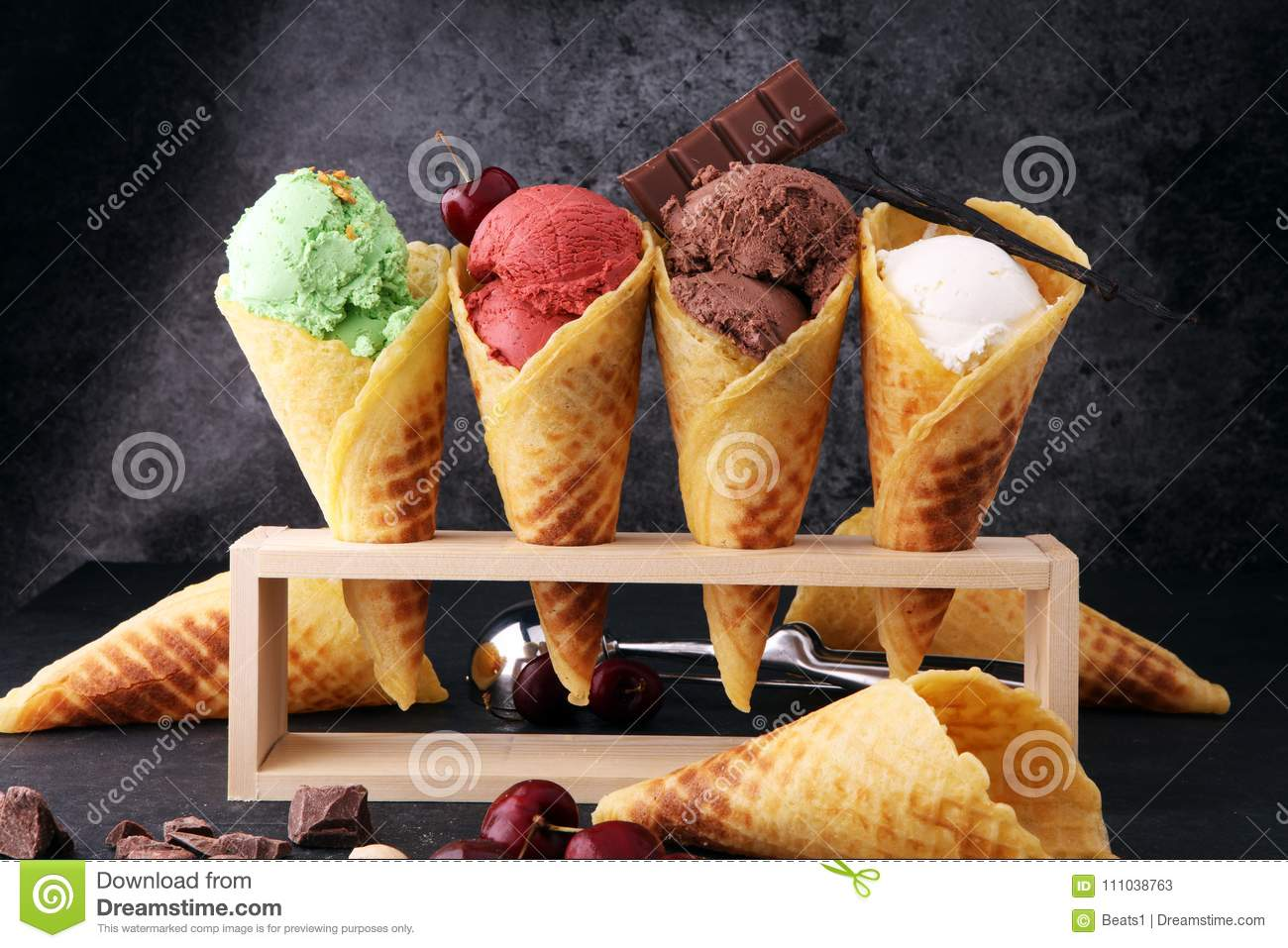 Set of ice cream scoops of different colors and flavours with be