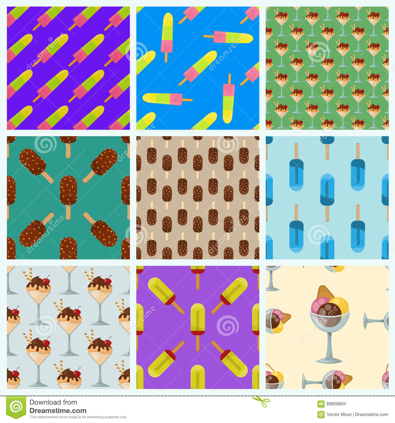 Seamless Wallpaper Pattern With Ice Cream Icons Stock: Set Ice Cream Seamless Pattern Background Cartoon Colorful