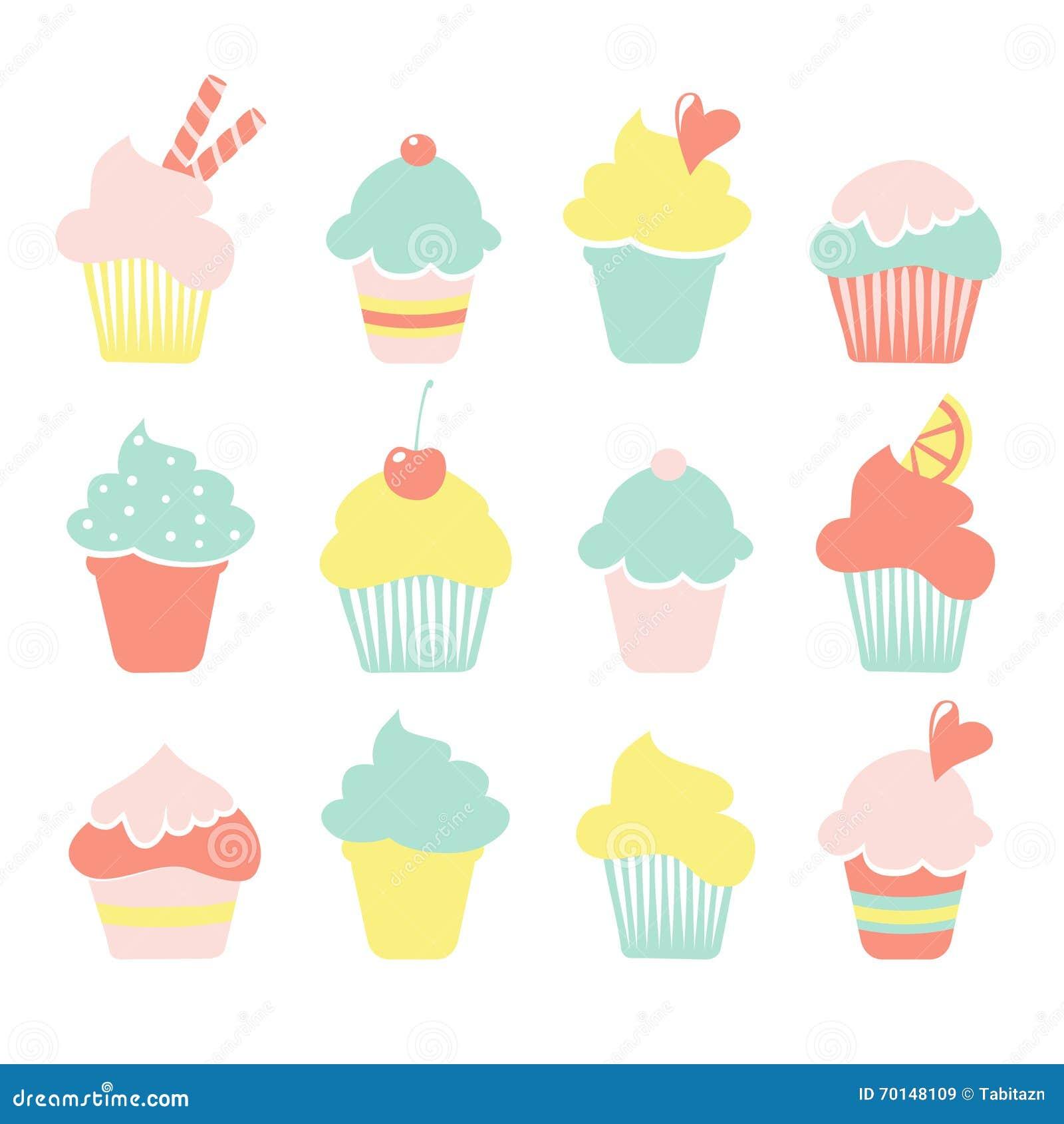 Icecream Cone Cupcake Wallpapers Mobile Pics: Set Of Ice Cream, Sundae, Cupcake Icons In Pastel Colors