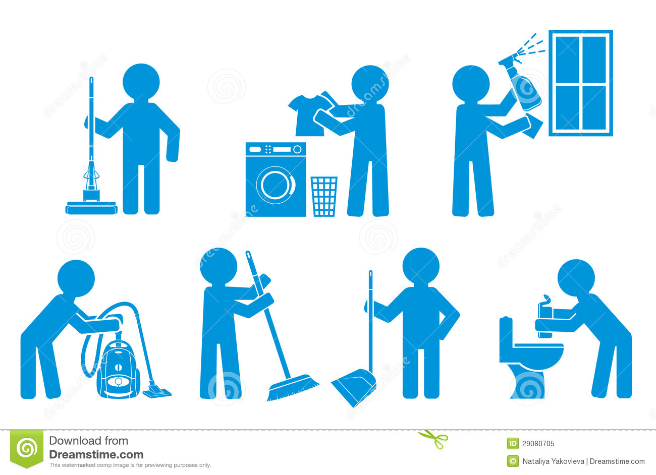 Set Of Icon Cleaning With Figure People Royalty Free Stock