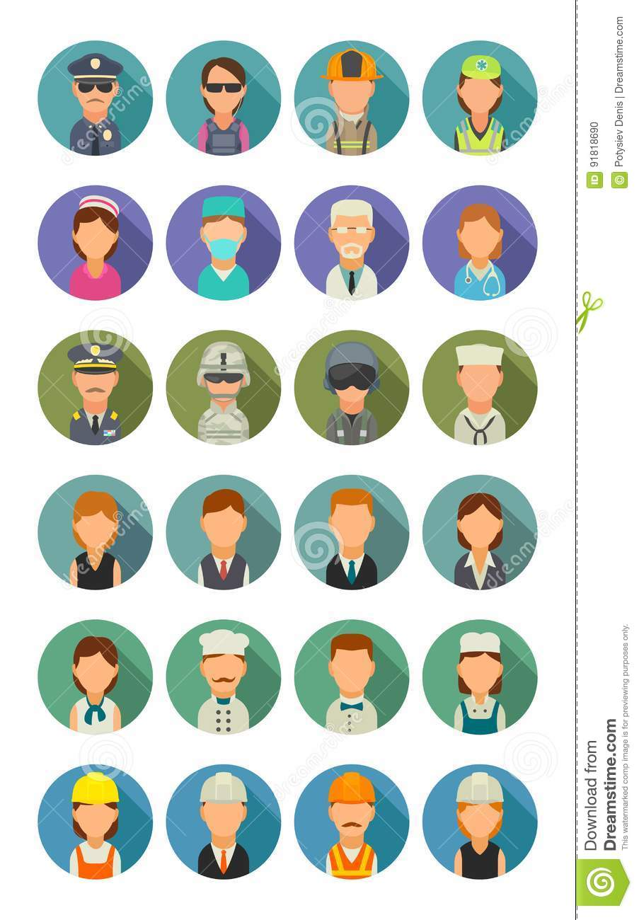Set icon different professions. Character cook, builder, business, army and medical people.