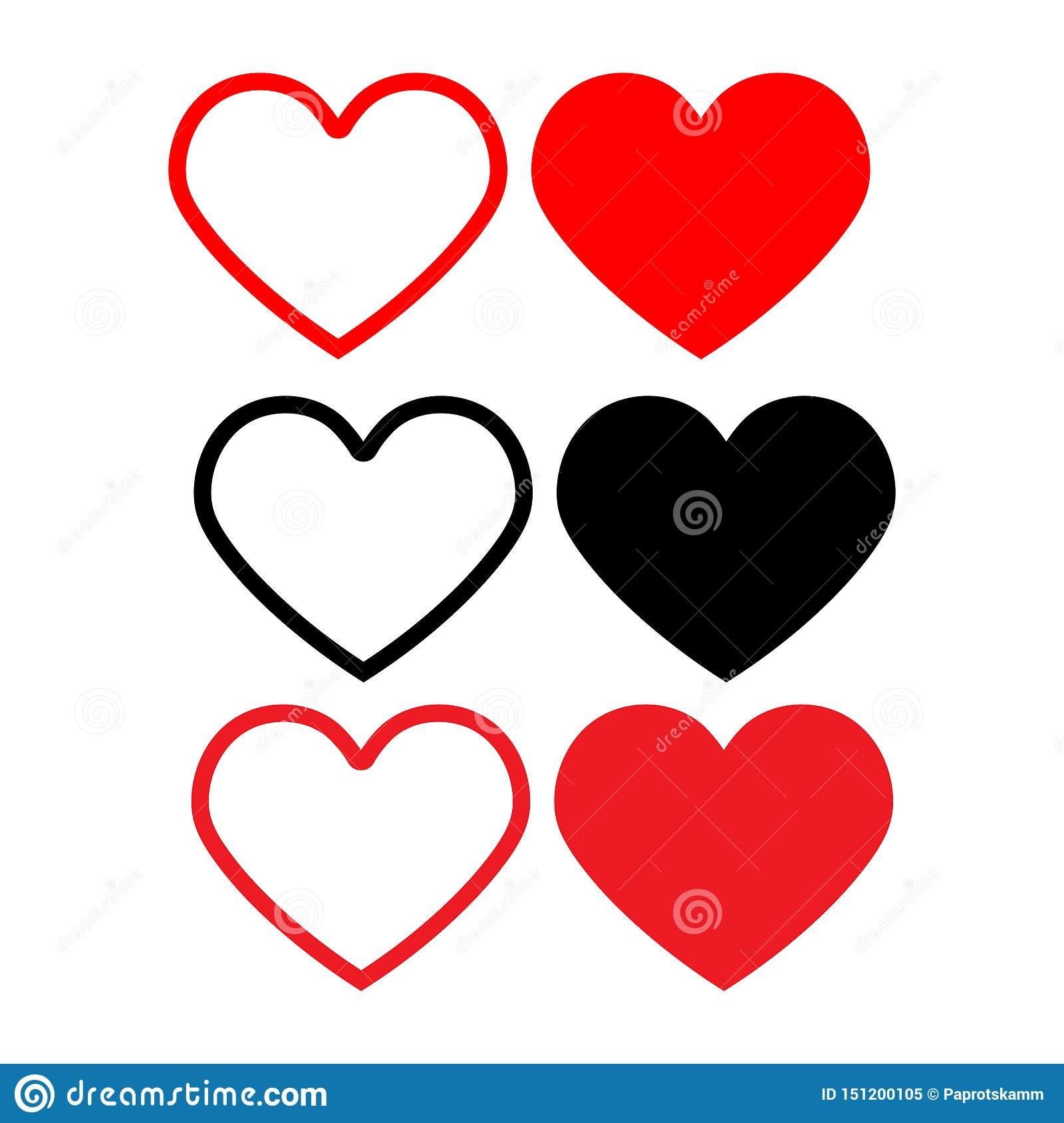 Set icon heart.Design elements for Valentine`s day.