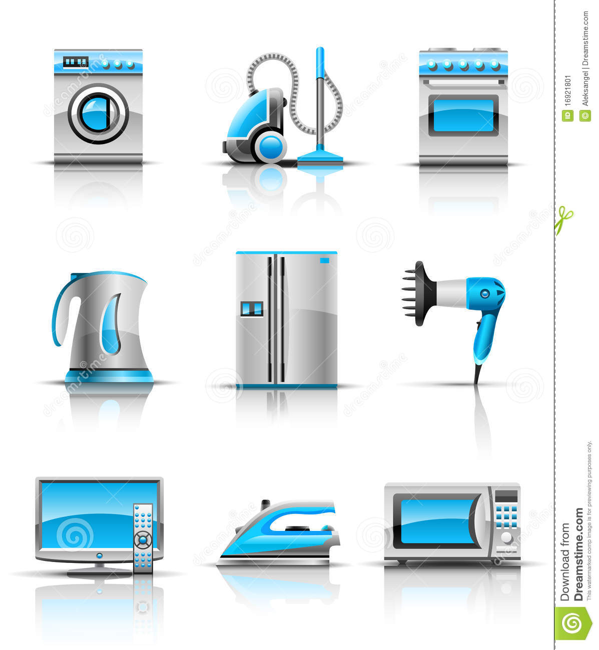 Kitchen appliances clipart - Set Icon Of Household Appliances Illustration Isolated On White