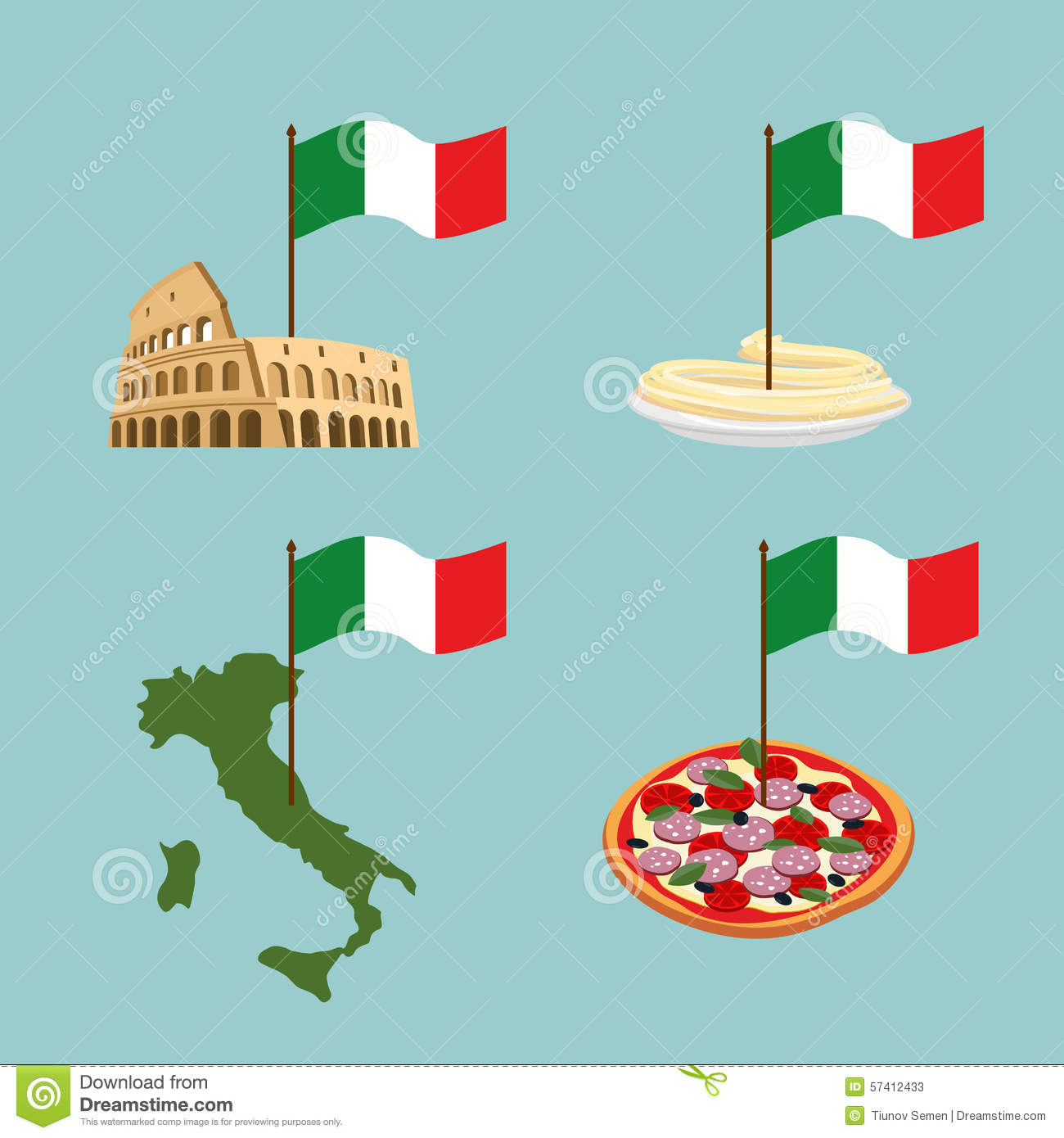 Set icon Italy. Flag and map, pasta and pizza.