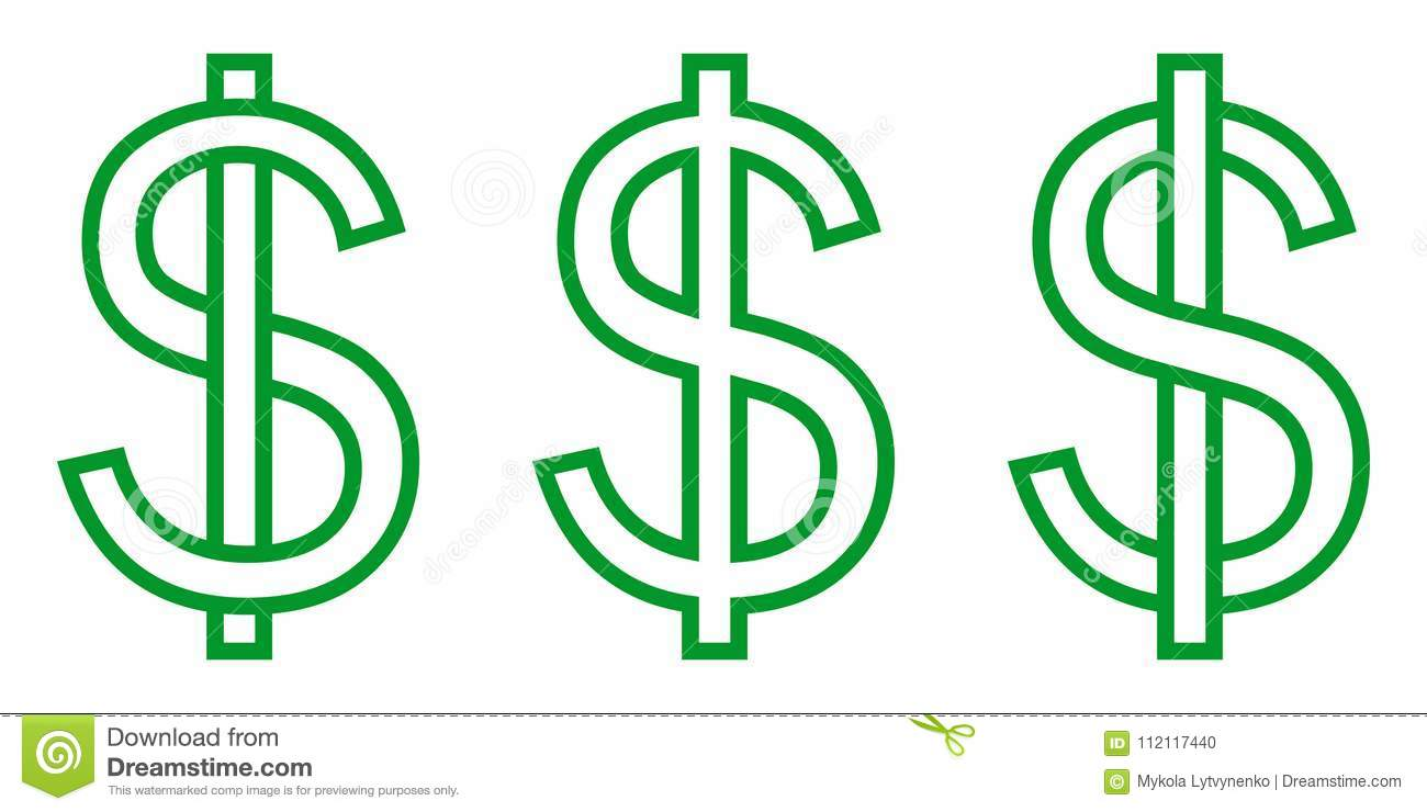 Set icon money symbol dollar, letter S intertwined with vertical stripe, vector set currency dollar sign green