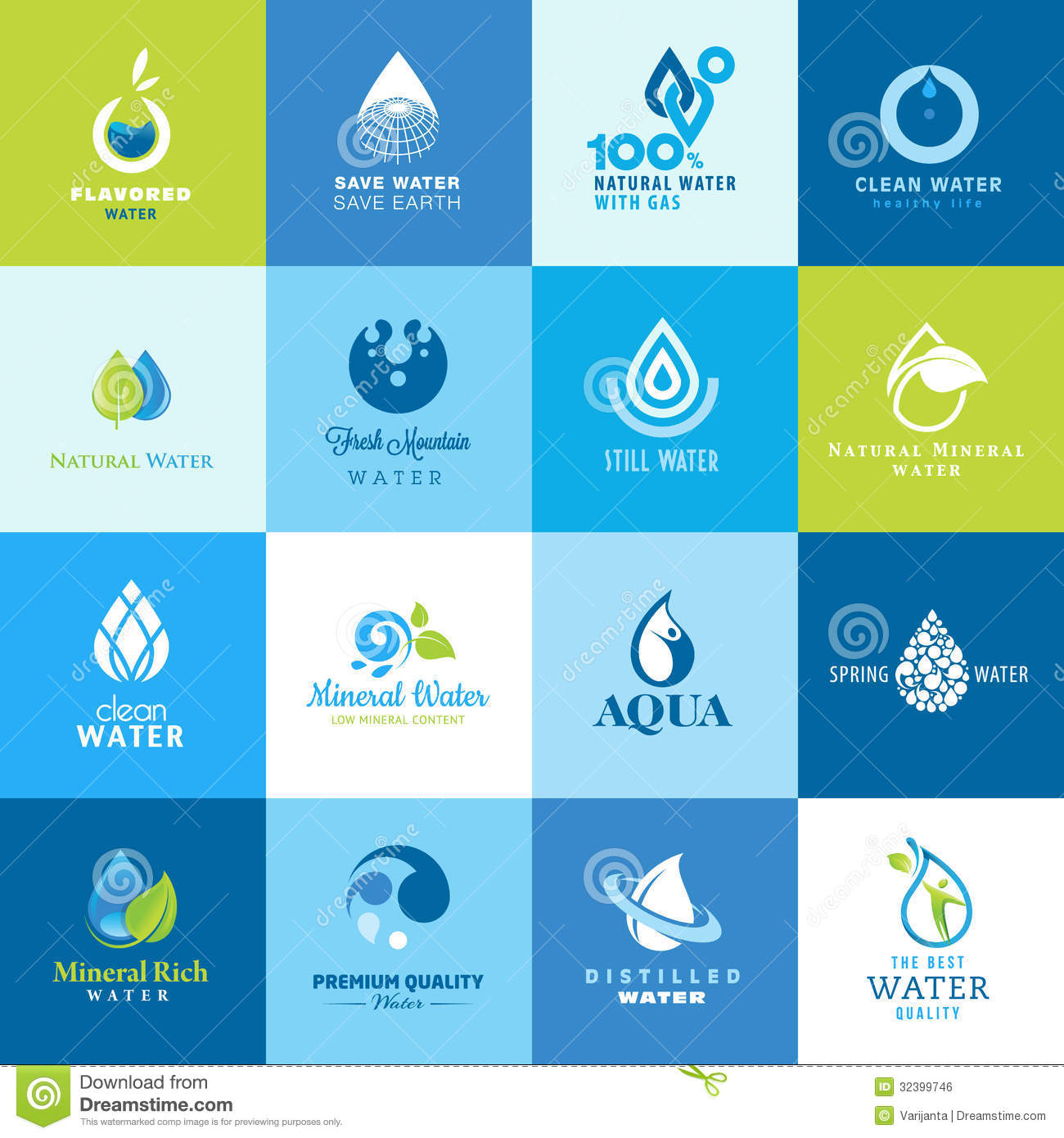 set of icons for all types of water royalty free stock