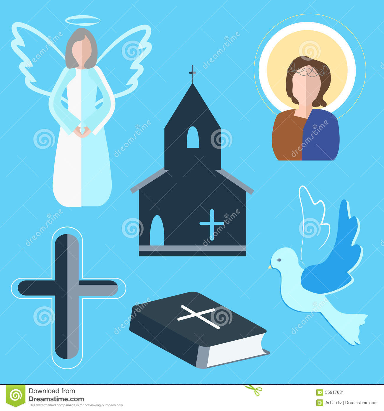 Set Icons Angel, Cross, Dove, Church Stock Vector - Image: 55917631