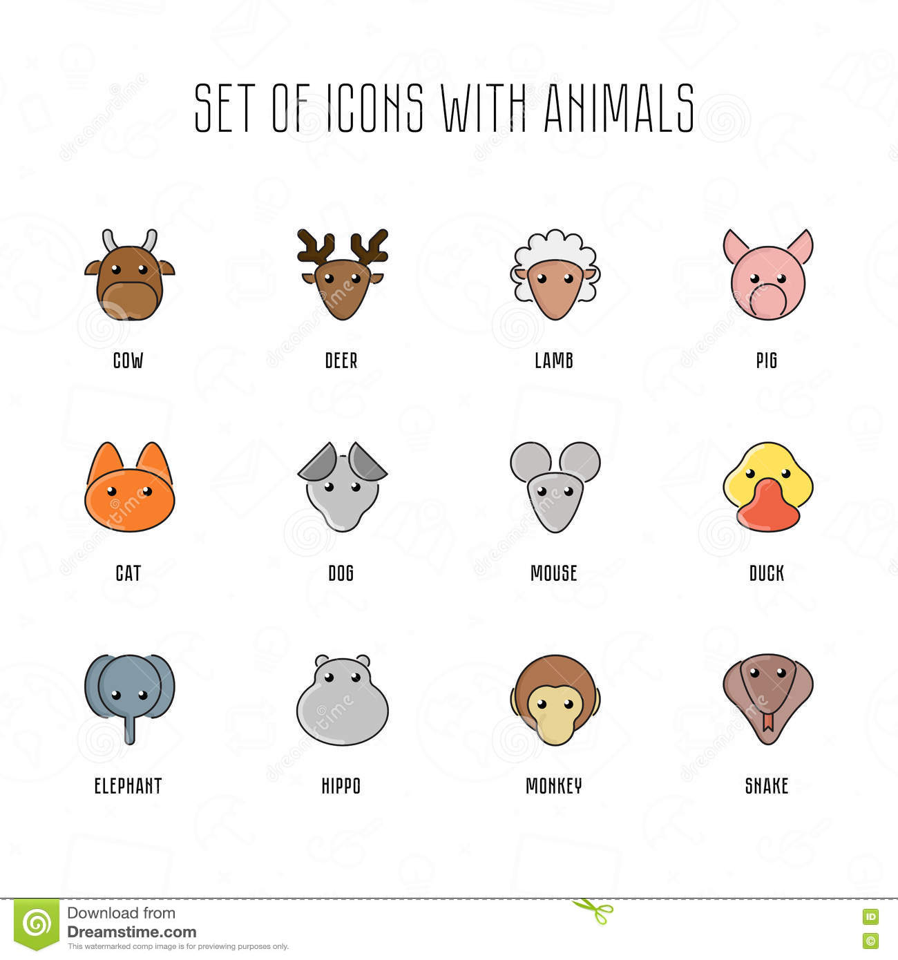 Avatar 2 Animals: Set Of Icons With Animals. Pet Faces With Flat Style. Zoo