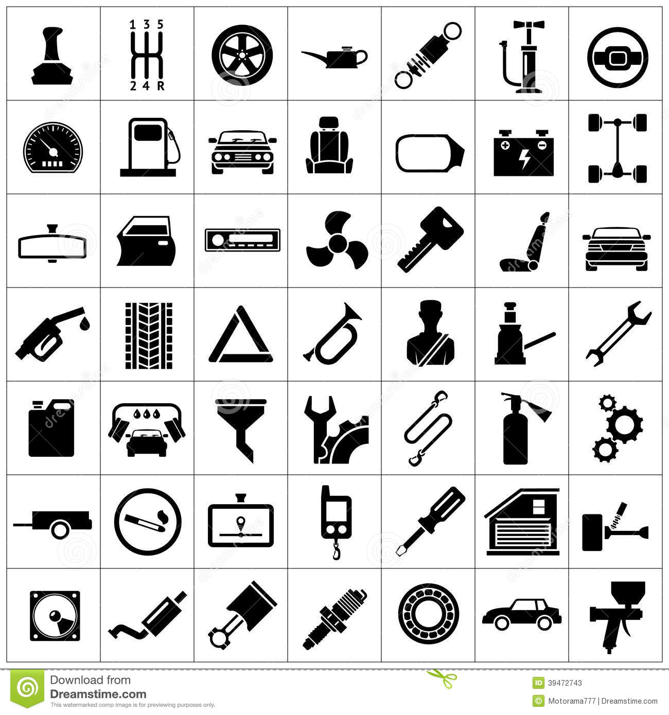 Set Icons Of Auto Car Parts Repair And Service Stock Vector Illustration Of Infographic Brake 39472743