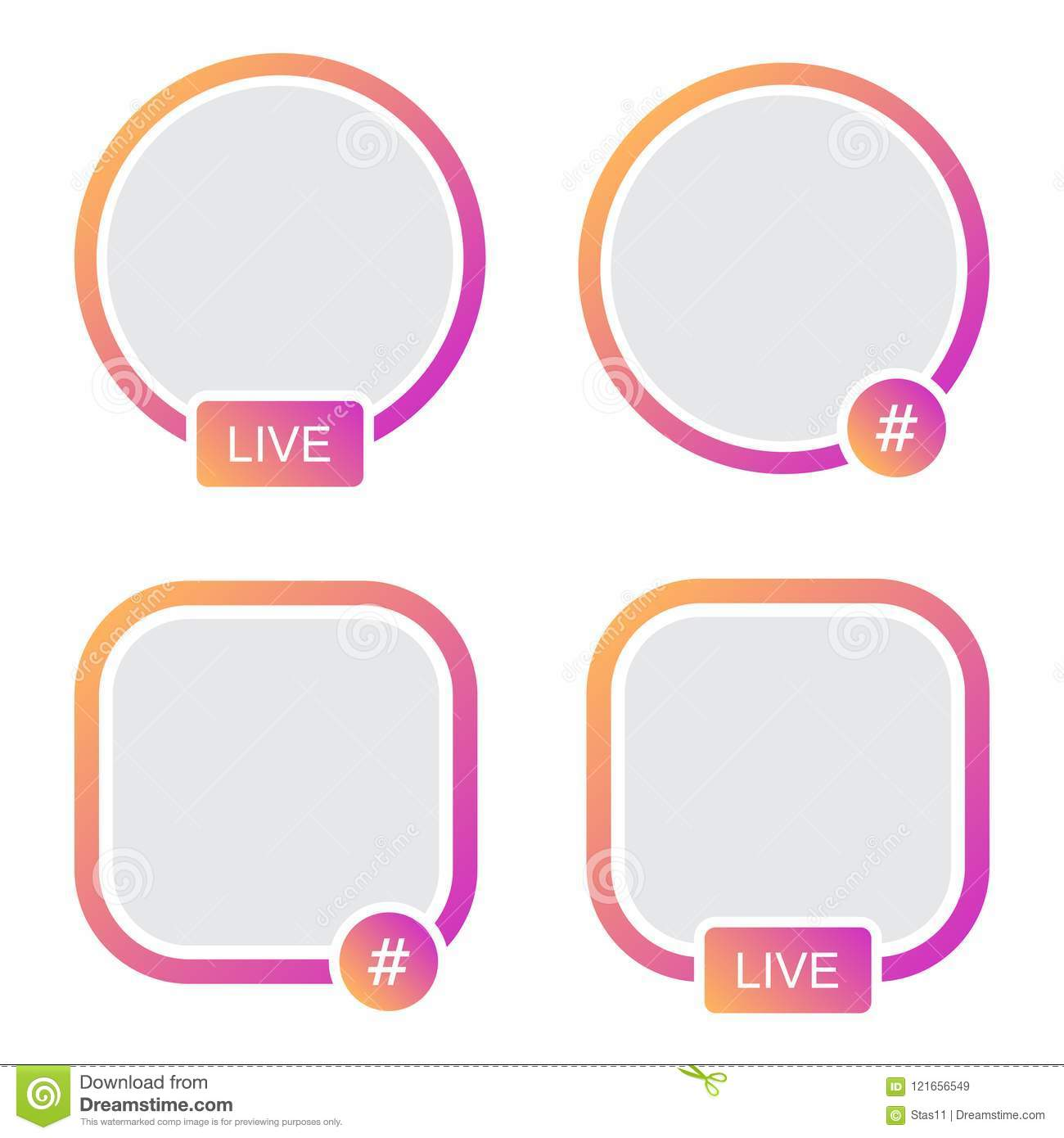 Set Of Icons Avatar Frame. Hashtag Live Stories Video Streaming ...