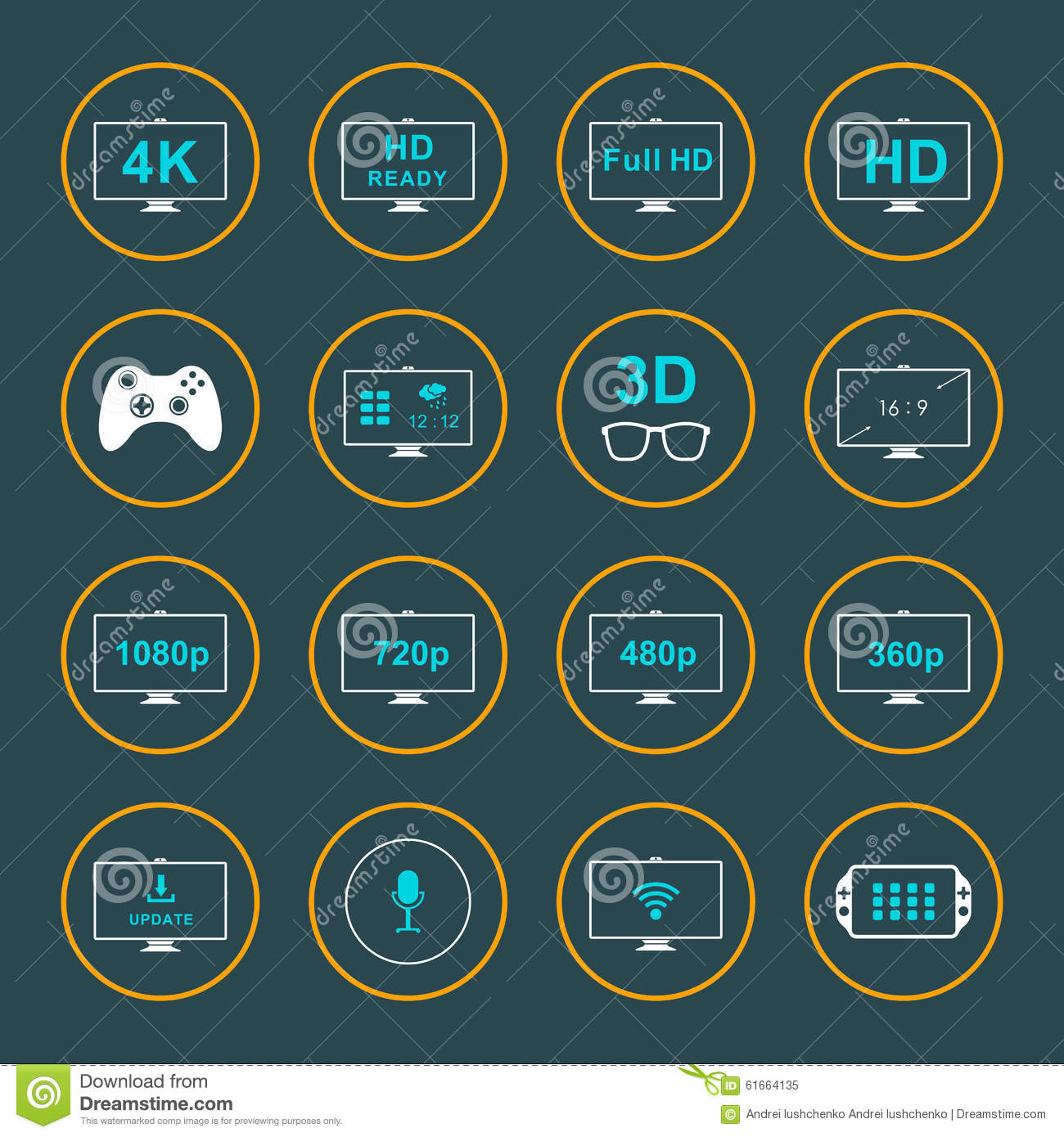 Set Icons And Badges Tv And Video Stock Illustration Illustration