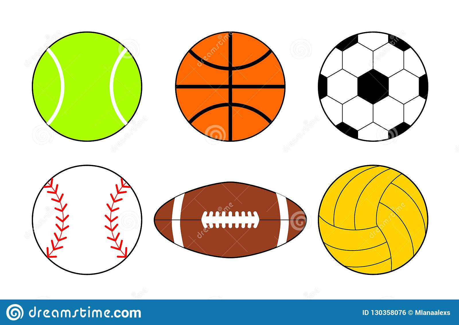 A Set Of Icons Of Balls From Different Sports Basketball And Football Balls Illustration Stock Vector Illustration Of Leisure Circle 130358076