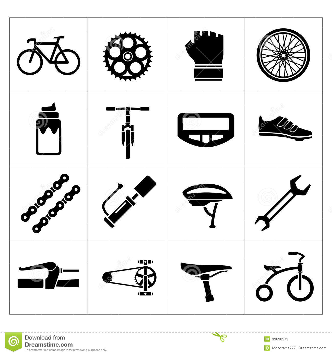 Set Icons Of Bicycle Biking Bike Parts And Equipment