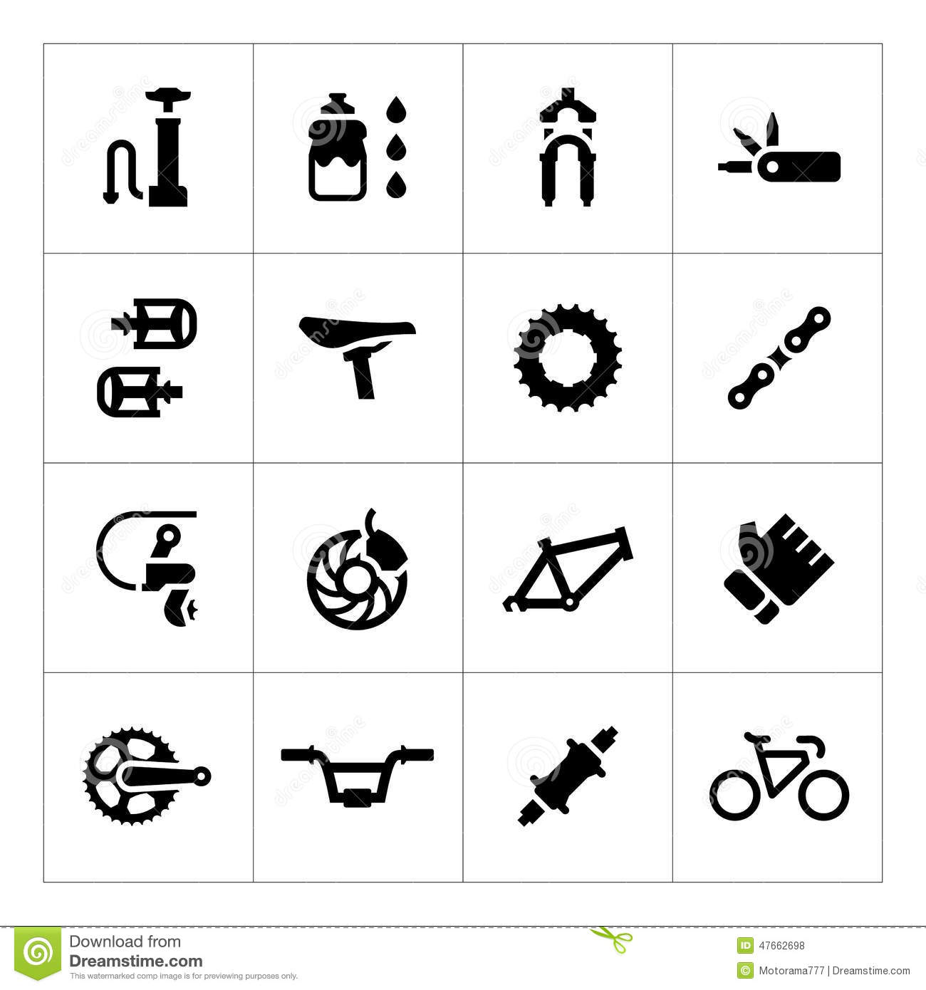 Bike Parts Accessories Set icons of bicycle parts