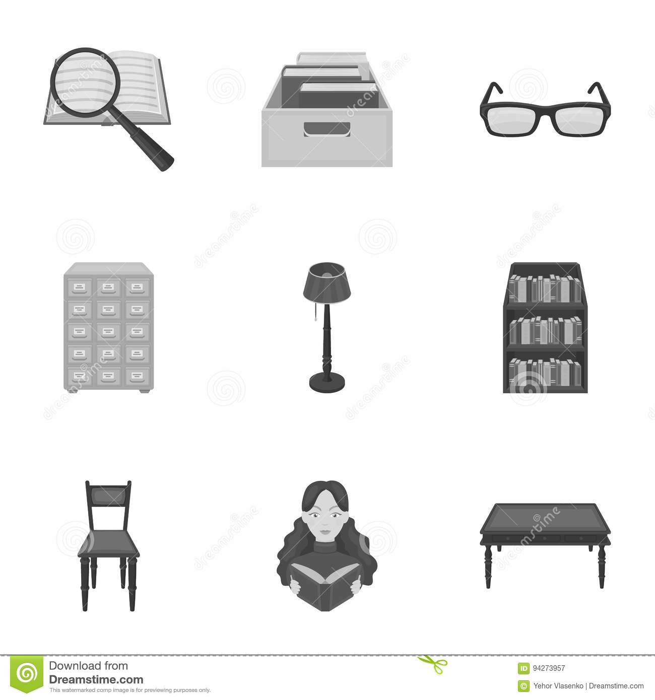 A Set Of Icons With Books Seth About The Library Reading