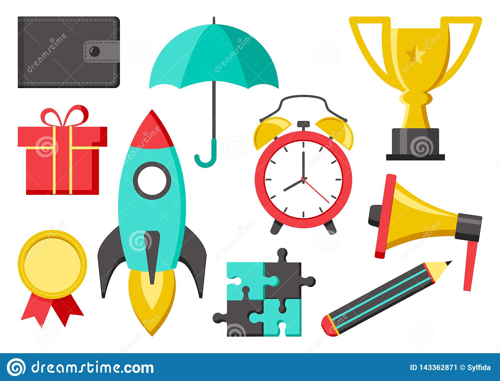 Set of icons for business or education. Wallet, umbrella, cup, medal, rocket, pencil, megaphone, alarm clock, puzzle, gift. Vector