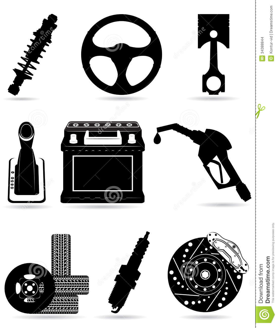 Forged Parts Black And White : Set icons of car parts black silhouette vector ill stock