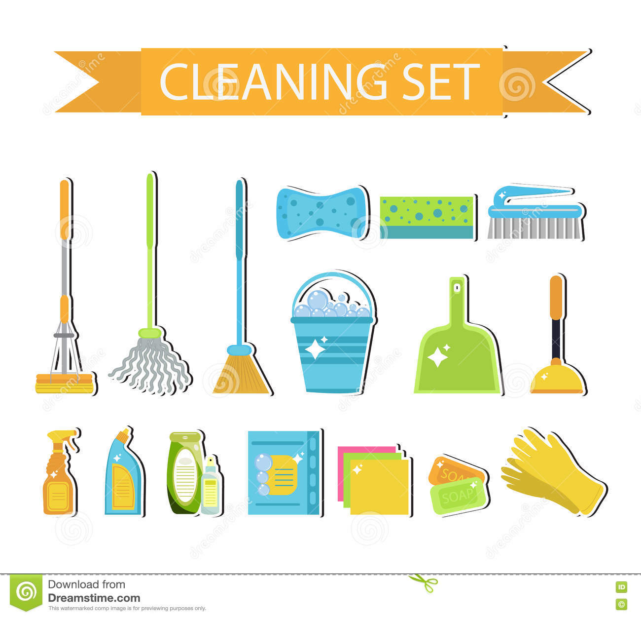Vector colorful icons set cleaning service cartoon for Building design tool