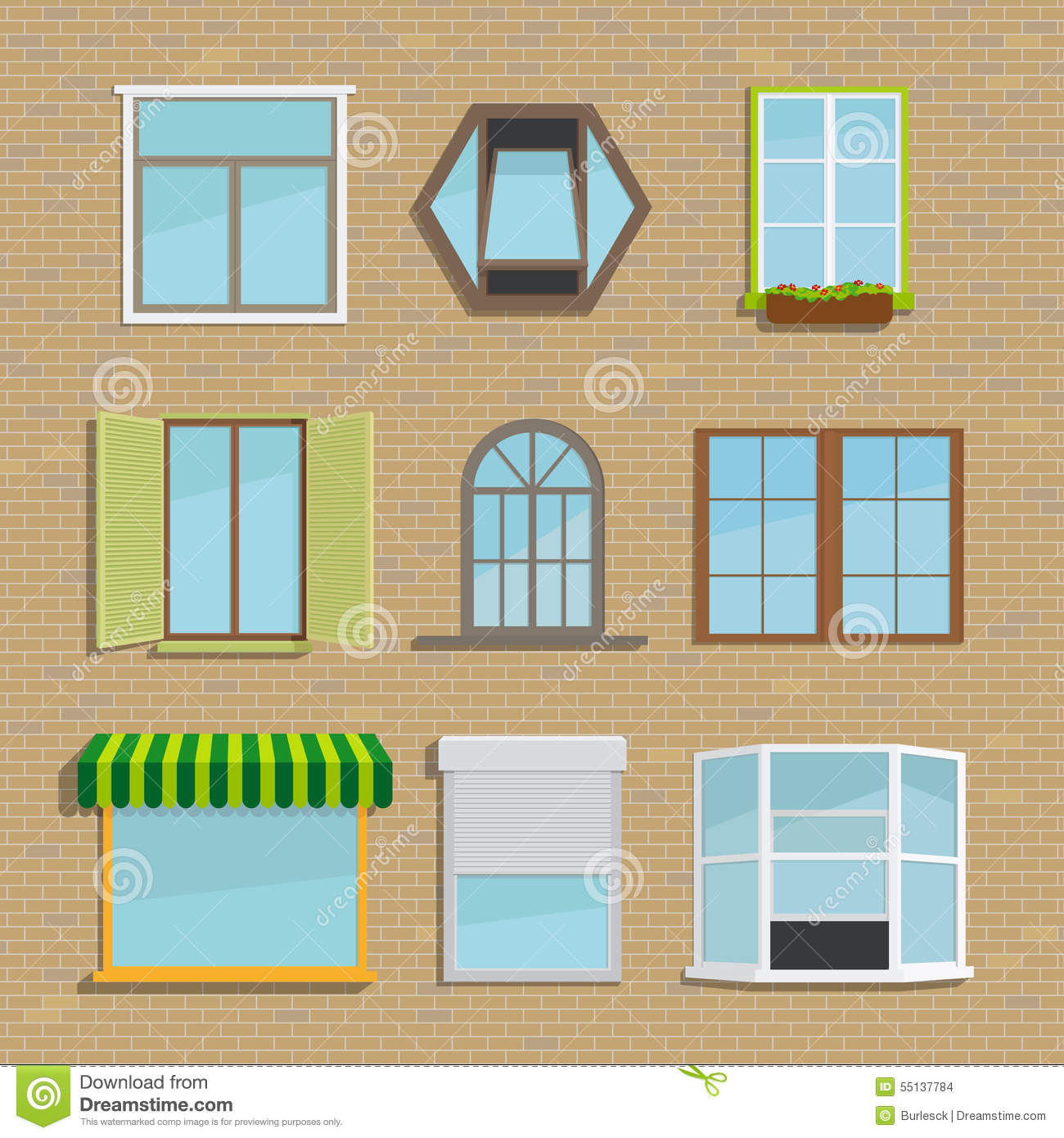 Set of icons different types windows stock vector for Type de fenetre