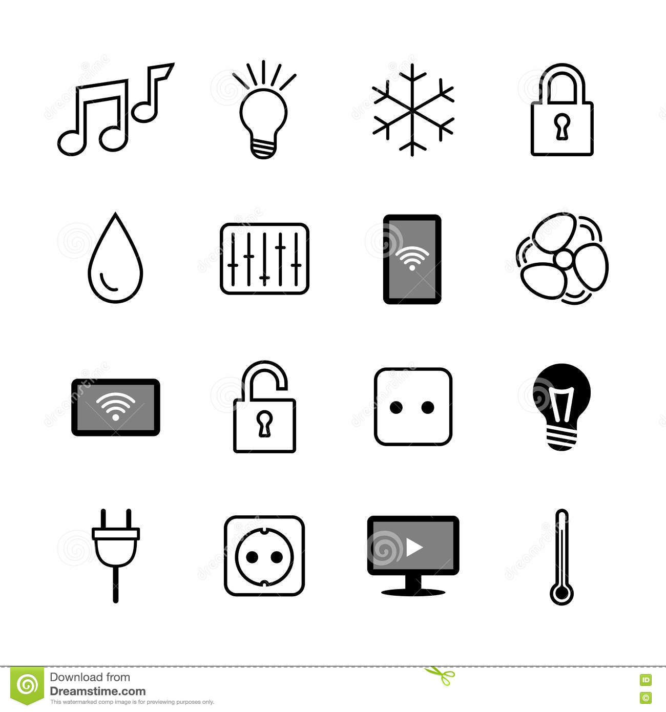 set of icons internet of things smart house smart home. Black Bedroom Furniture Sets. Home Design Ideas