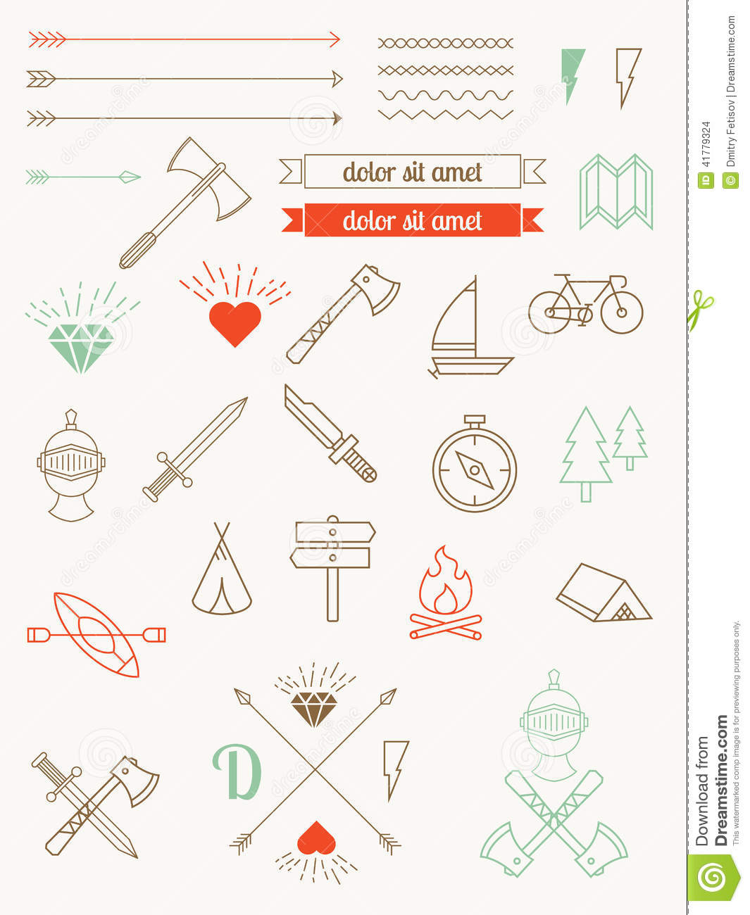 Set of icons, items, badges hipster style