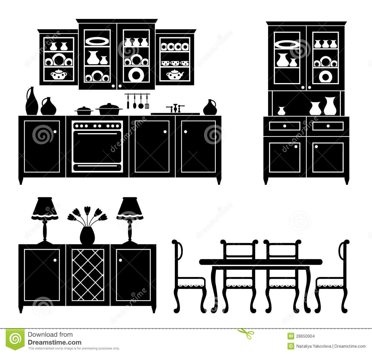 Kitchen Furniture Silhouette: Set Of Icons Of Kitchen Furniture Stock Images
