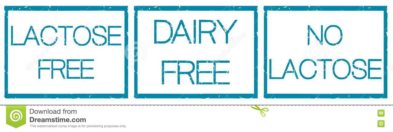 Set of icons lactose free with fantasy isolated stock