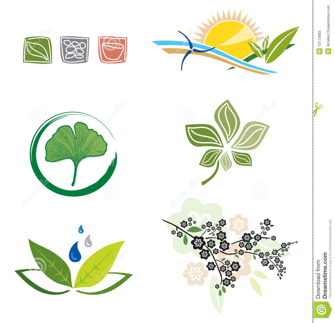Set of icons for logo design stock photos image 13172683 for Landscape design icons