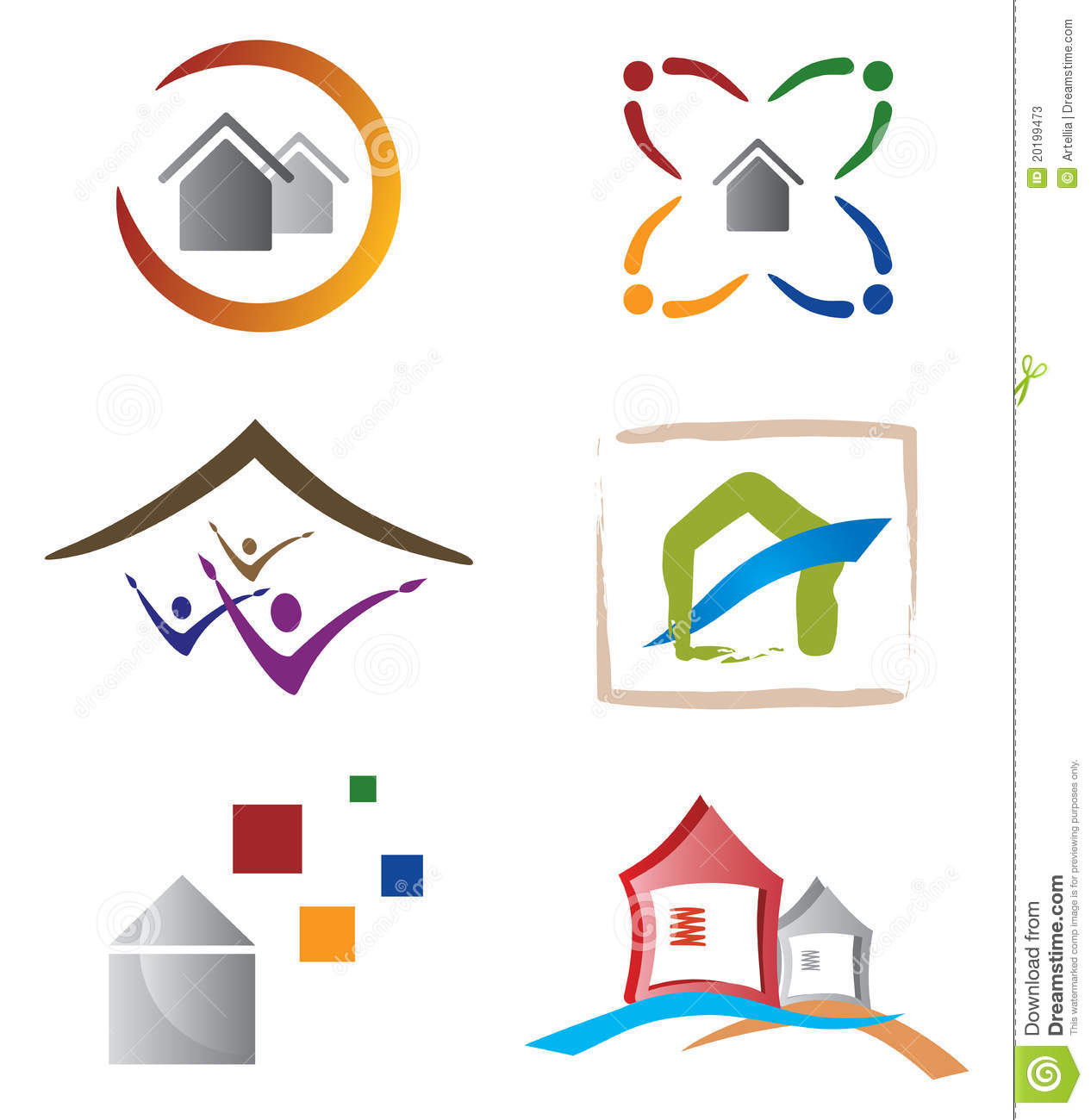Set of Icons and Logo Elements on Home, House and Real Estate Topic ...