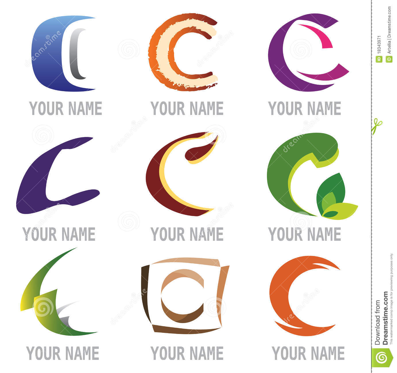 Set Of Icons And Logo Elements Letter C Stock Image - Image: 18343971