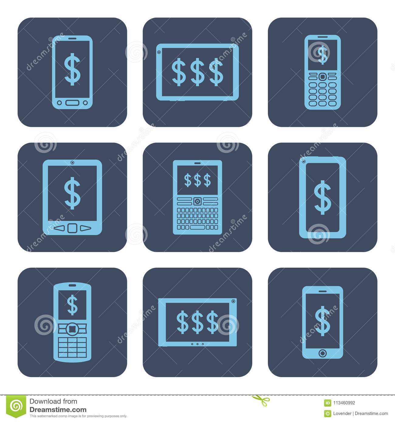 Set Of Icons Mobile Devices With Dollar Symbols On Screens Stock