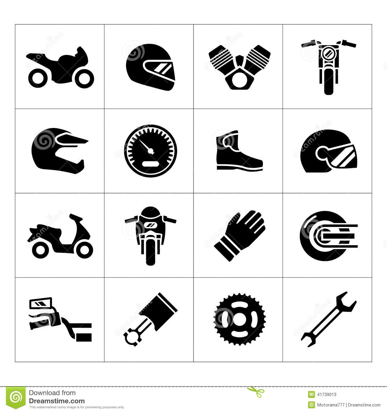 Set Icons Of Motorcycle Stock Vector Image 41739013