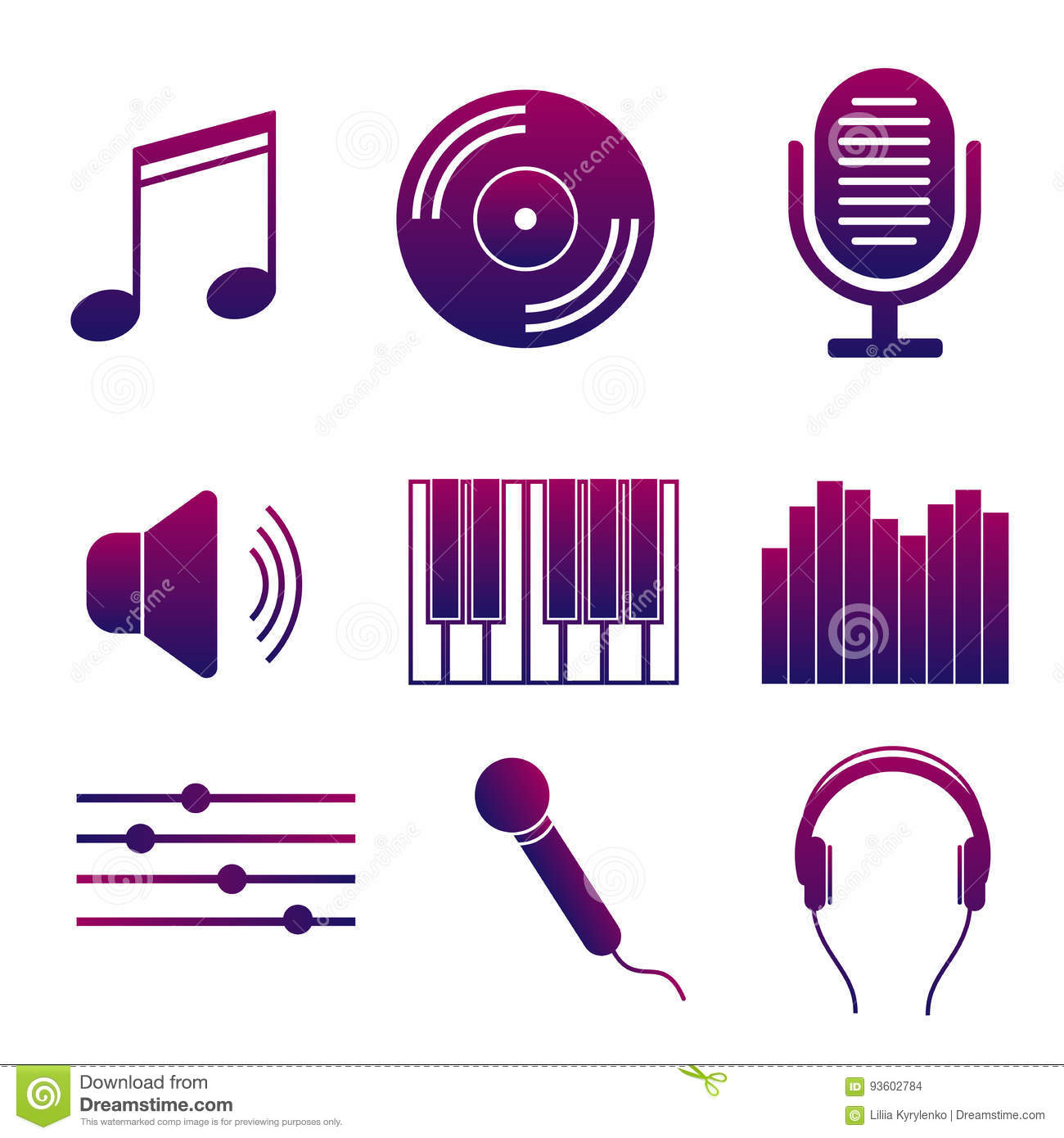 Set Of Icons Of Music And Songs  Modern Collection Of Bright Signs