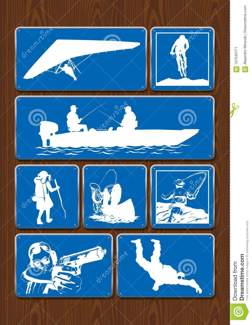 Set of icons of outdoor activities: binoculars, compass, hiking, climbing. Icons in blue color on wooden background