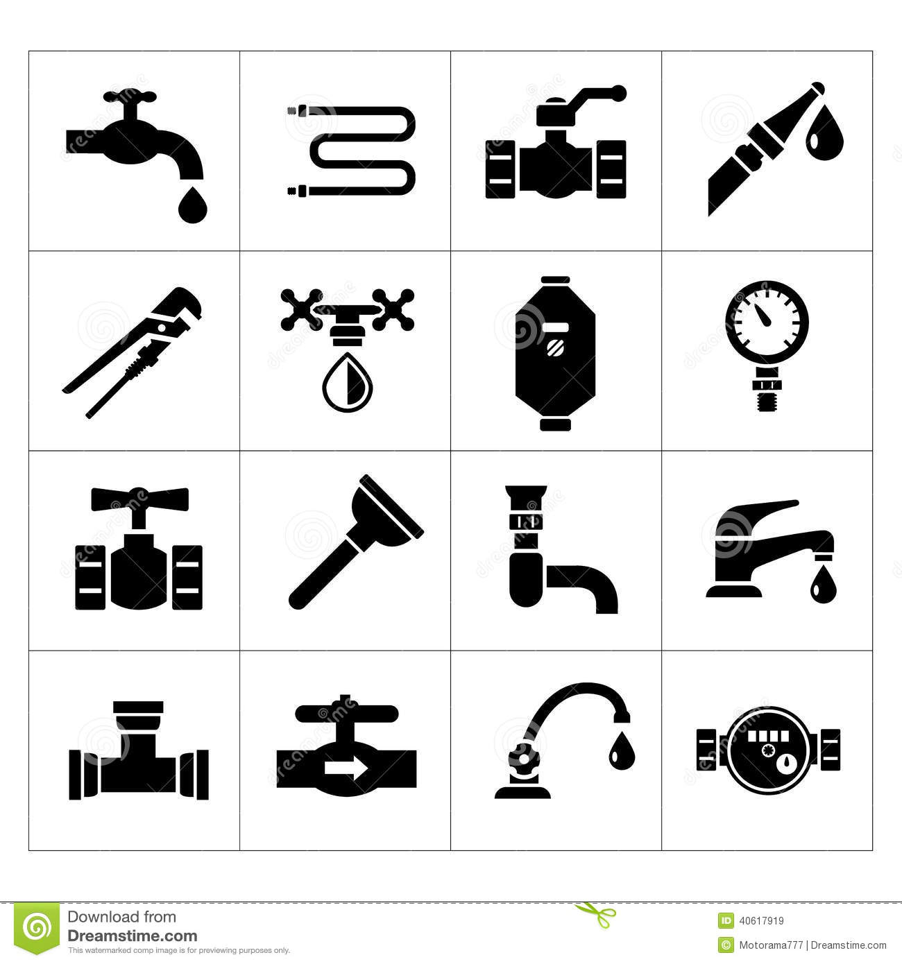 Set Icons Of Plumbing Stock Vector Image 40617919