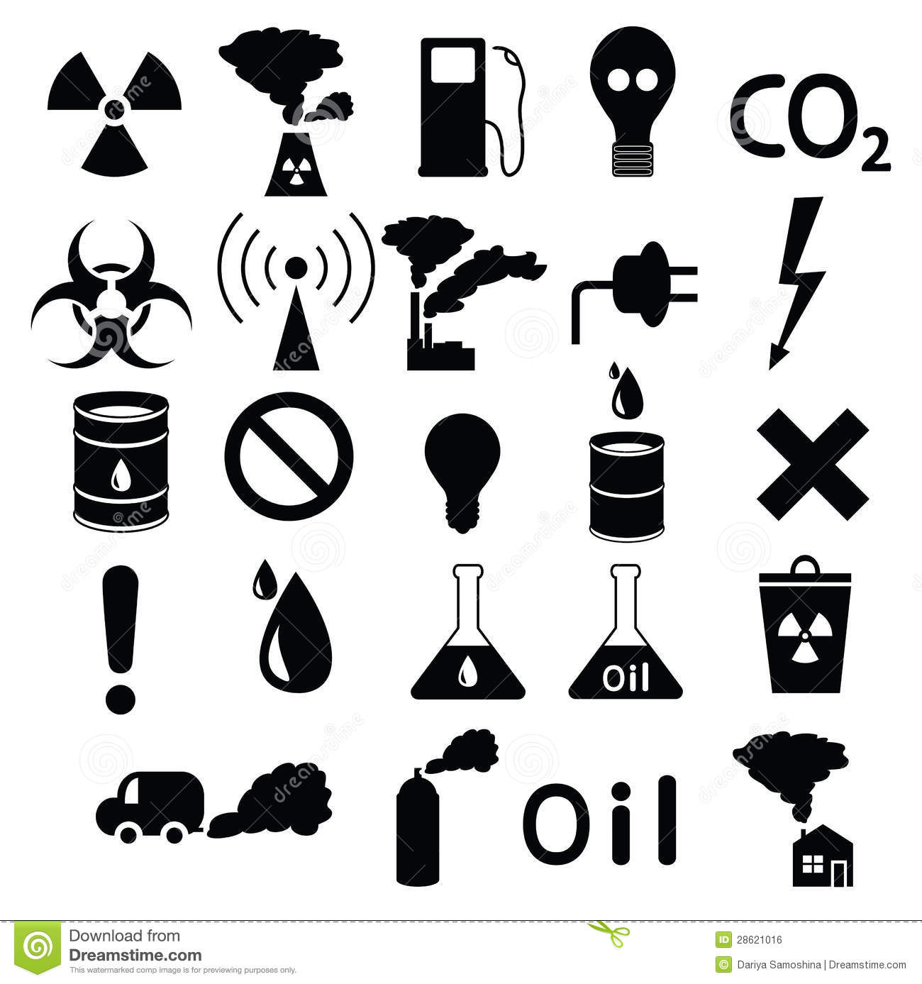 All Hazards Waste Management Planning Wmp Tool: Set Of Icons: Pollution, Industrial, Hazardous Royalty