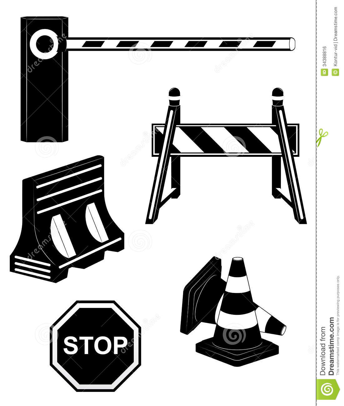 Set Icons Road Barrier Black Silhouette Vector Ill Royalty Free Stock ... Under Construction Signs