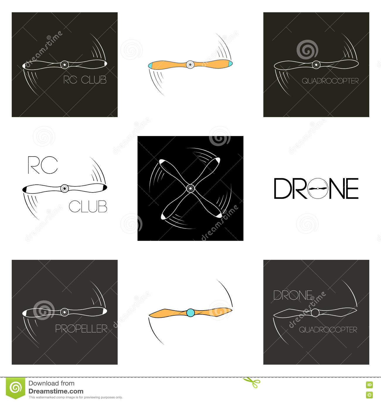 Set Icons Rotating Propeller Logo Aircraft Symbol Quadrocopter