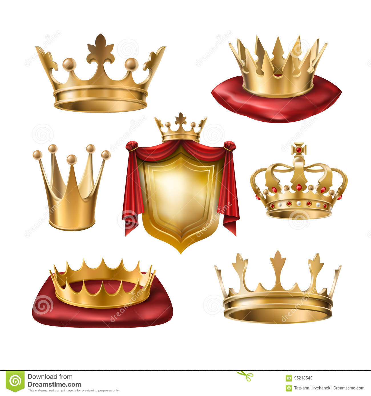 set of icons of royal golden crowns of various kinds and