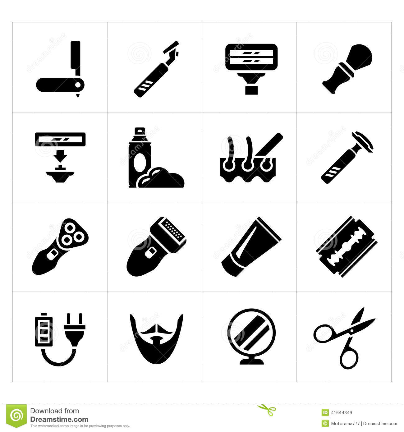 Set Icons Of Shave Barber Equipment And Accessories Stock