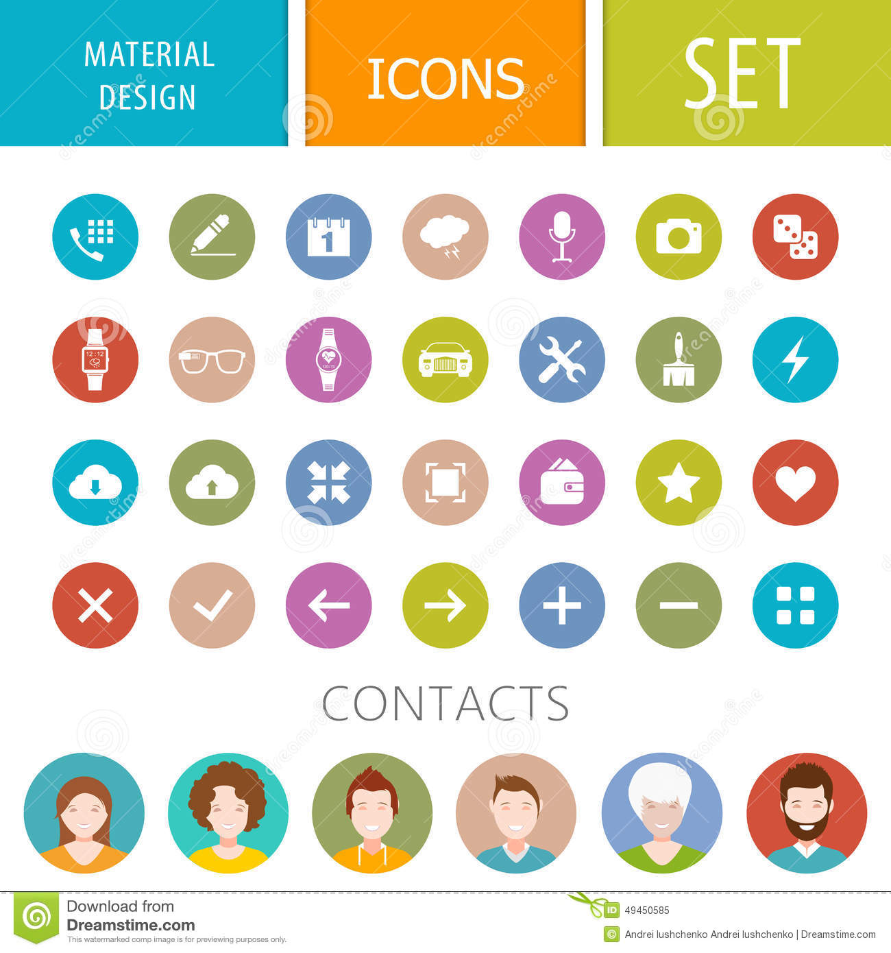 Set Of Icons In The Style Of The Material Design Stock