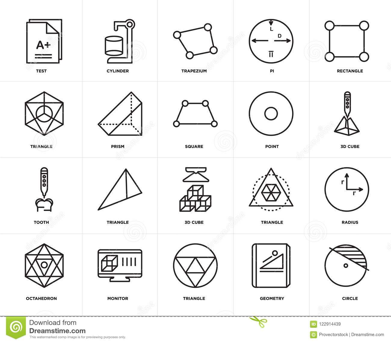 Set Of Tooth, Circle, Geometry, Monitor, Radius, 3d Cube, Triangle