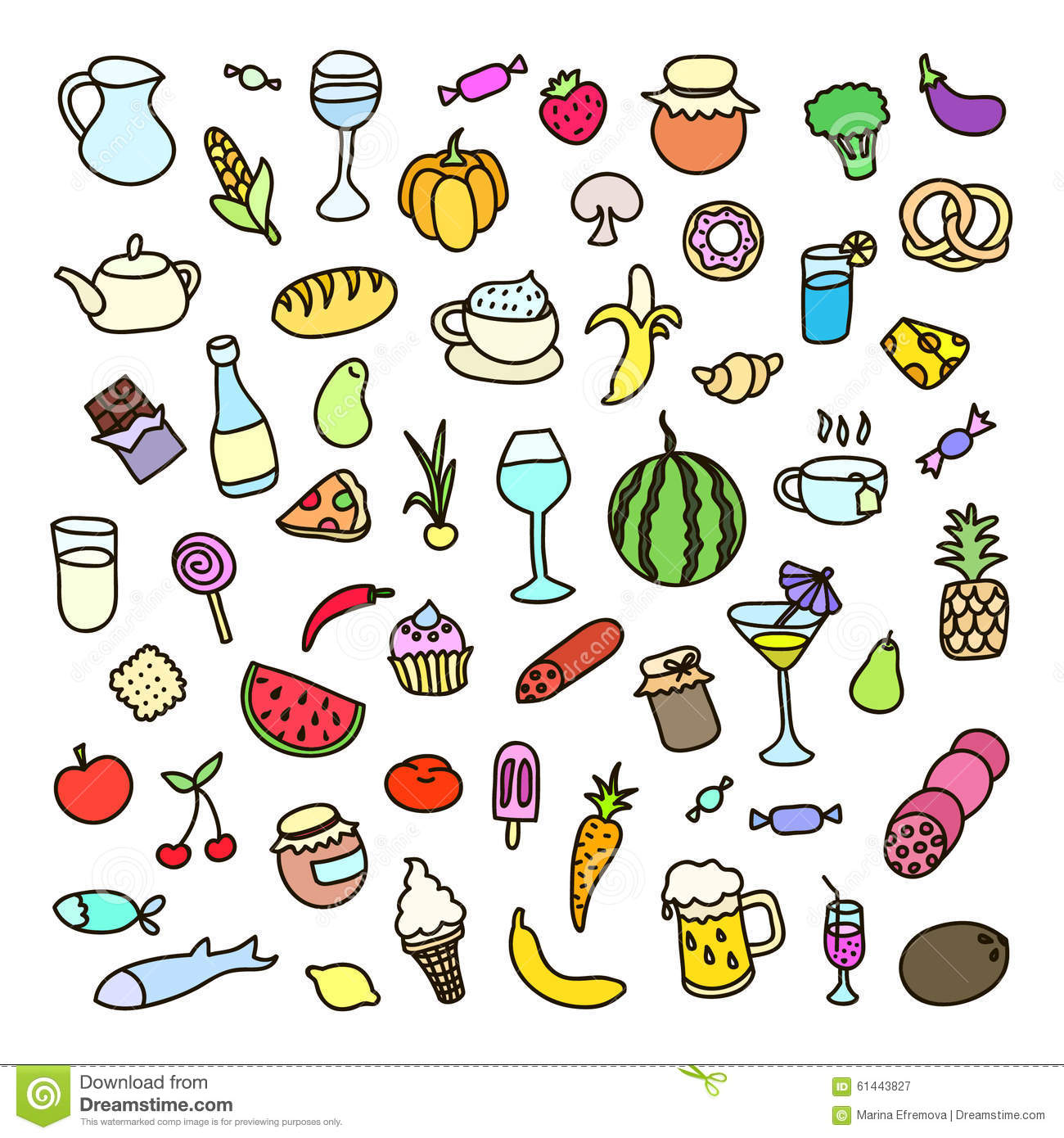 set of 55 icons on the theme of food different dishes and cuisines stock vector image 61443827. Black Bedroom Furniture Sets. Home Design Ideas