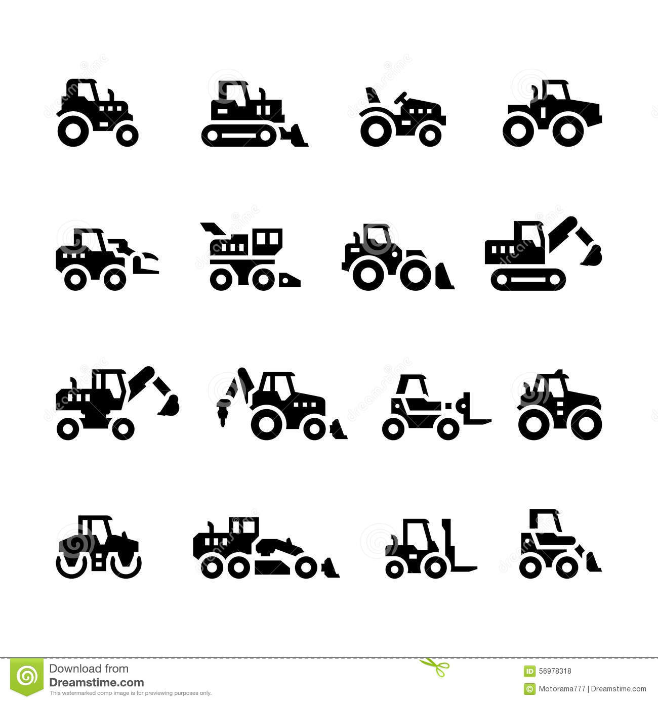 Set Icons Of Tractors Stock Vector Illustration Of Backhoe 56978318