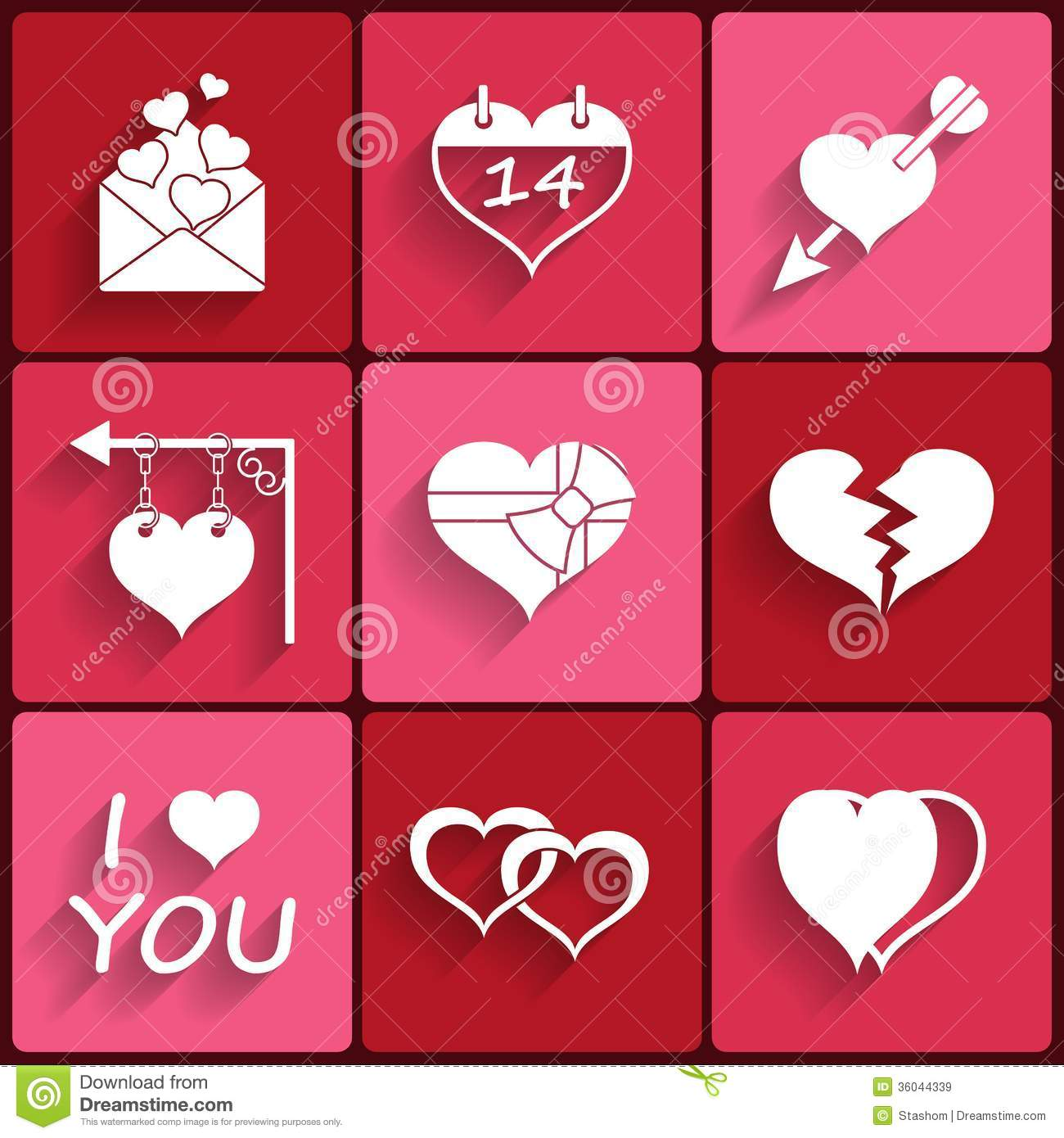 Set Icons Of Valentine S Day Red Hearts Signs