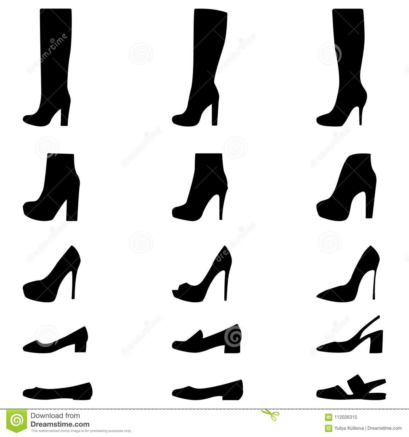2568fdcf5920 Set Of Icons Of Women`s Shoes. Stock Vector - Illustration of ...