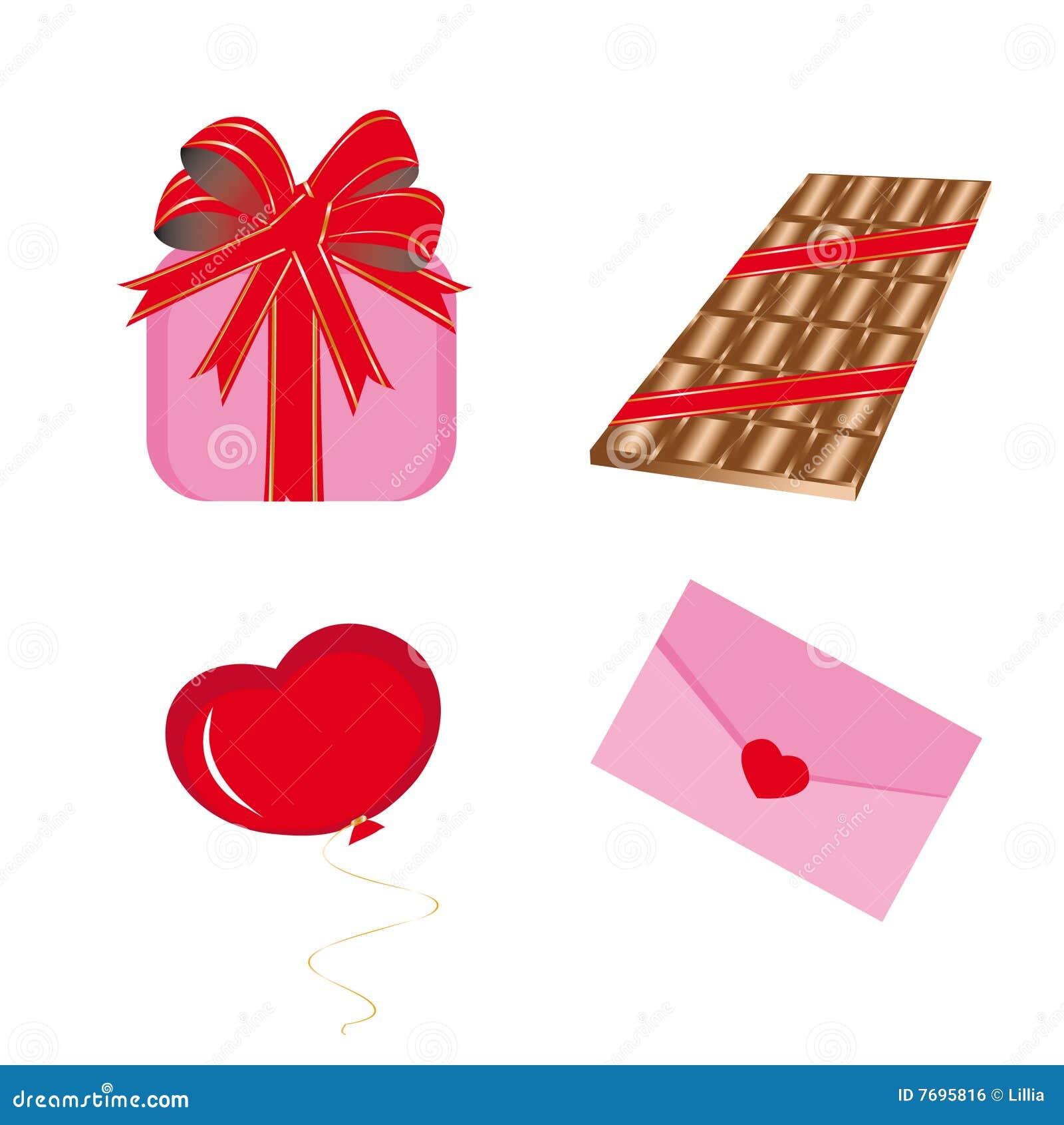 Set Ikonen für Str.-Valentinsgrußtag