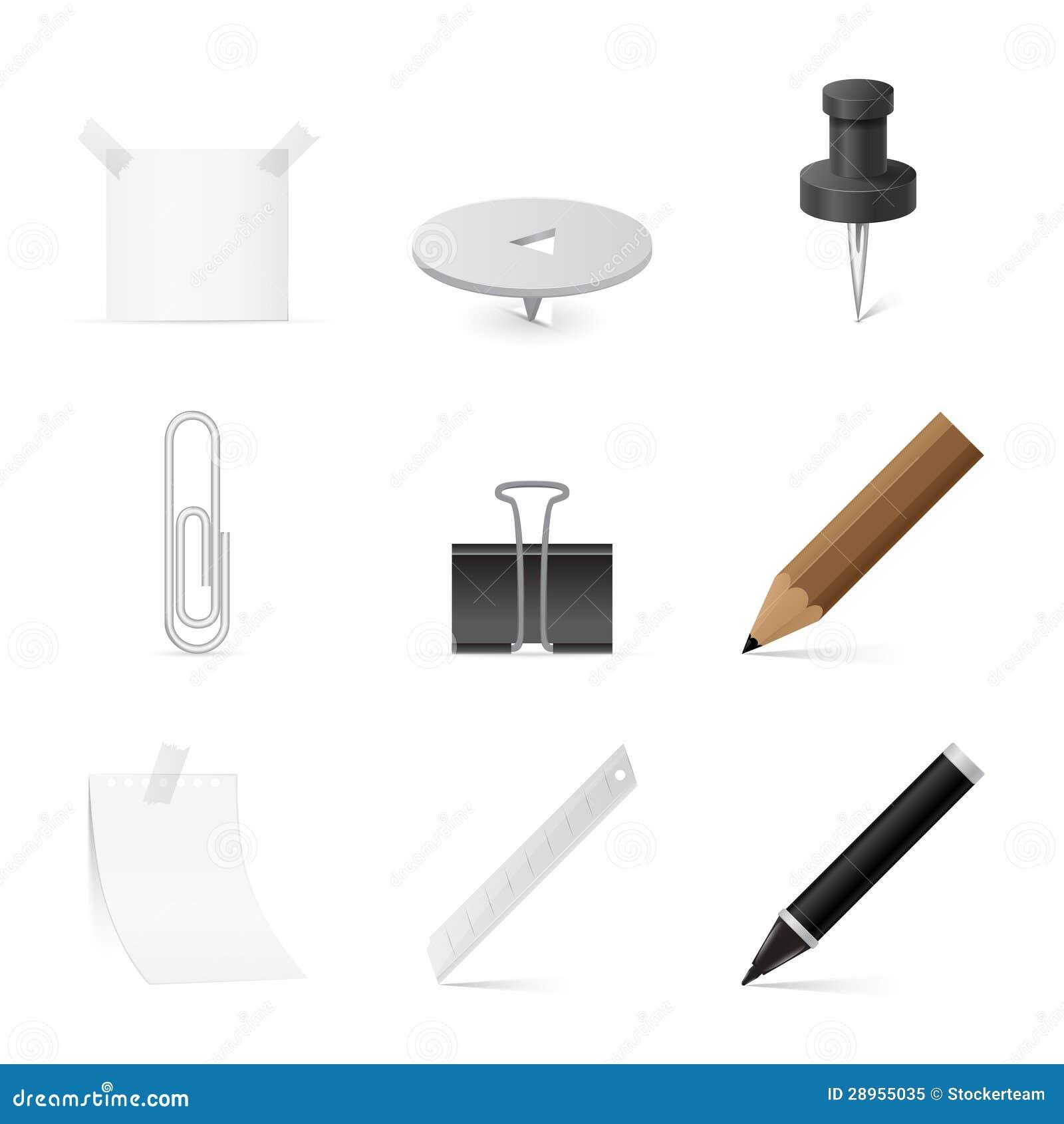 Set ikony dla biura i materiały